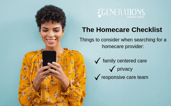 woman looking at homecare checklist on smart phone