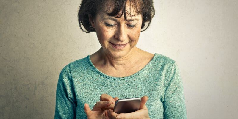 woman using Generations Secure Messaging