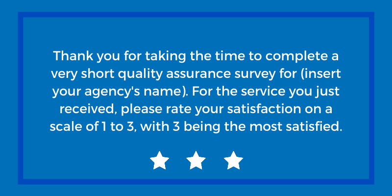 example of Generations Client Quality Assurance survey question