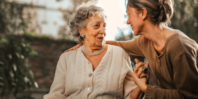 caregiver and client together during supervisory visit